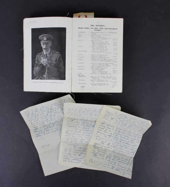 Original WW1 28/3/18 Dated British Handwritten Letter By Major General Guy Bainbridge & WW1 25th Division In France & Flanders History Book