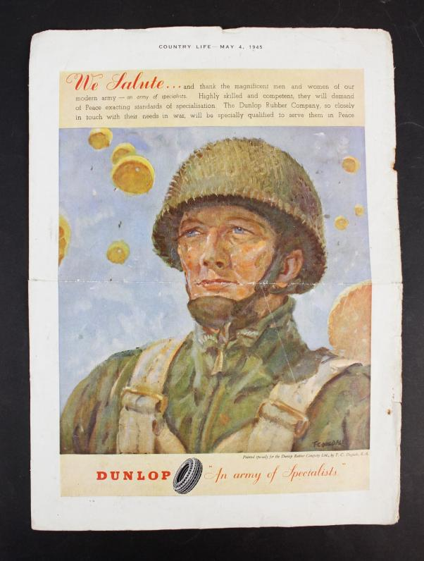 WW2 British Paratrooper Pullout From Country Life Magazine May 1945
